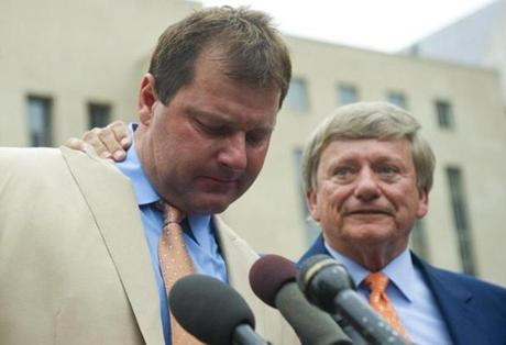 Clemens (with his lead attorney, Rusty Hardin) was emotional after the verdict was announced.